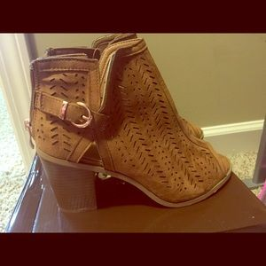 Tan/Brown Vegan Faux Leather Booties Size 10